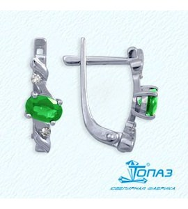 Серьги с изумрудами и бриллиантами Т301022145_2