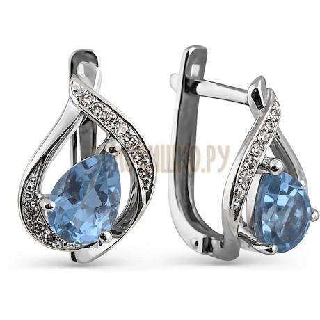 Серьги с топазами и бриллиантами Т301024598_6
