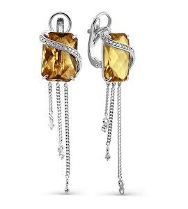 Серьги с кварцем и бриллиантами Т301024624