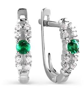 Серьги с изумрудами и бриллиантами Т301026079_2