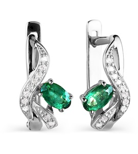 Серьги с изумрудами и бриллиантами Т301026082_2