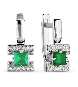 Серьги с изумрудами и бриллиантами Т301026285
