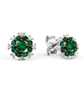 Серьги с изумрудами и бриллиантами Т301027875_2