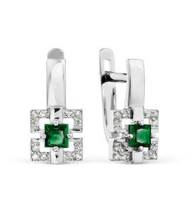 Серьги с изумрудами и бриллиантами Т301029209_2