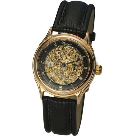 """Мужские золотые часы """"Скелетон"""" 41950Д.556"""