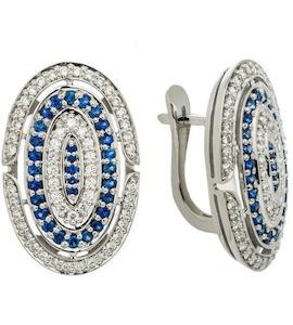 Серьги с бриллиантами и сапфирами 00835