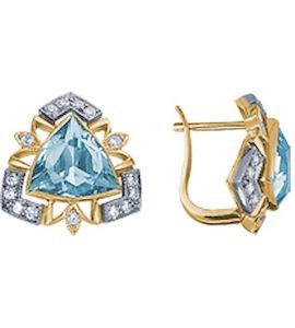 Серьги с бриллиантами и топазами 18599