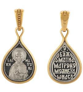 """Серебряная подвеска """"Святая Матрона Московская"""" 43183"""
