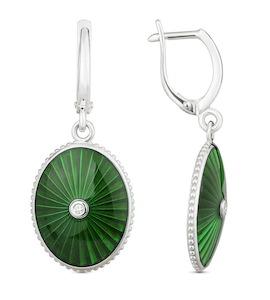 Серьги с бриллиантами и зеленой эмалью 73570