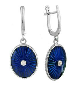 Серьги с бриллиантами и синей эмалью 735702