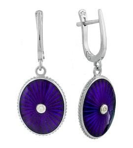 Серьги с бриллиантами и фиолетовой эмалью 735703