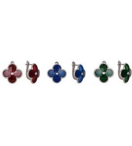 Серьги с бриллиантами и эмалью 73577