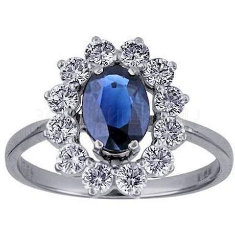 Кольцо с сапфиром и бриллиантами 88223