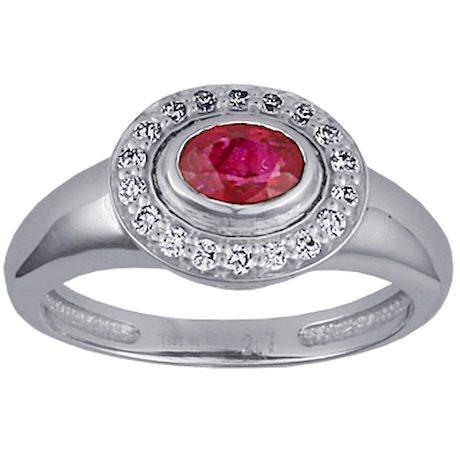 Кольцо с рубином и бриллиантами 88241