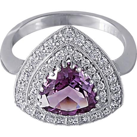 Кольцо с  аметистом и бриллиантами 88341