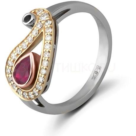 Кольцо с рубином, сапфиром и бриллиантами 88463