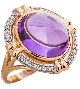 Кольцо с бриллиантами и аметистами 88534