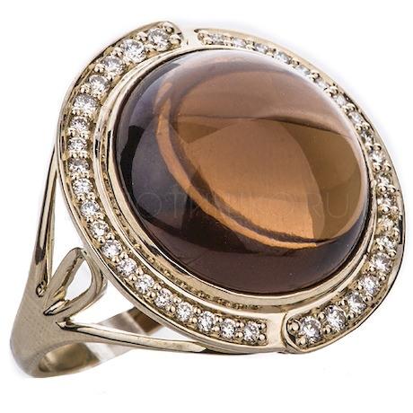 Кольцо с бриллиантами и кварцем 88536
