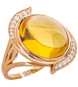 Кольцо с бриллиантами и цитрином 88538