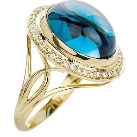 Кольцо с топазом и бриллиантами 88617