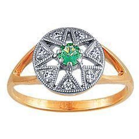 Кольцо с бриллиантами и изумрудом 95221