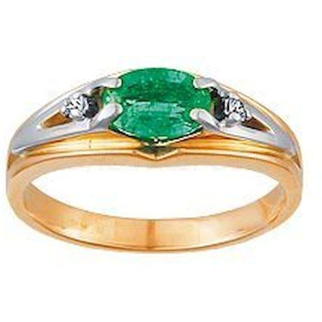 Кольцо с бриллиантами и изумрудом 95292