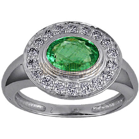 Кольцо с изумрудом и бриллиантами 95310