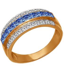 Кольцо из золота с голубыми фианитами 011563