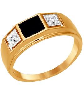 Золотая печатка с эмалью и фианитами 014873