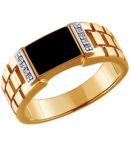 Печатка из золота с эмалью с фианитами 015072