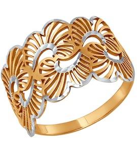 Ажурное кольцо с алмазной гранью 015336