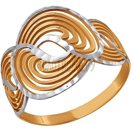 Кольцо из красного золота с алмазной обработкой 015337