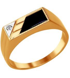 Печатка из золота с ониксом и фианитом 016066