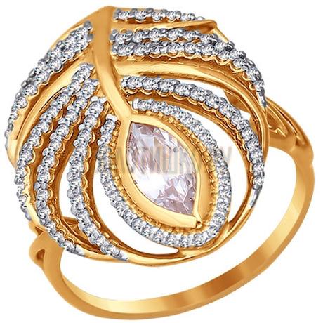 Кольцо из золота с фианитами 016506