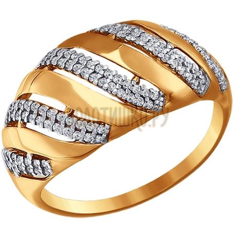 Кольцо из золота с фианитами 016626