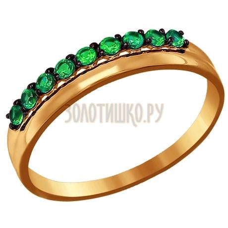 Кольцо из золота с зелеными фианитами 016671