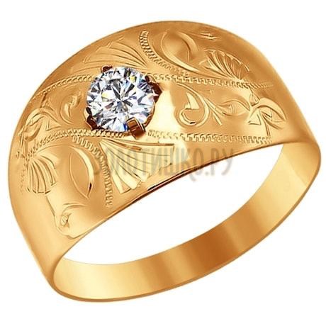 Печатка из золота с гравировкой с фианитом 016691