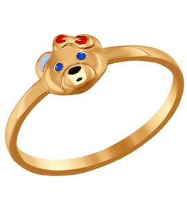 Золотое колечко с мишкой 016709