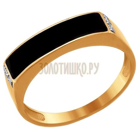 Печатка из золота с эмалью с фианитами 016721