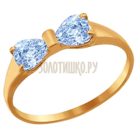 Кольцо из золота с голубыми фианитами 016795