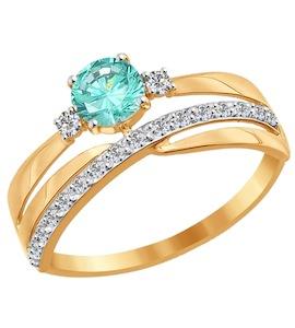 Кольцо из золота с зелёным фианитом 016920