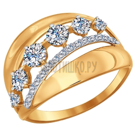 Кольцо из золота с фианитами 017013