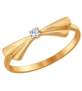 Тонкое кольцо из золота с фианитом «Бантик» 017027