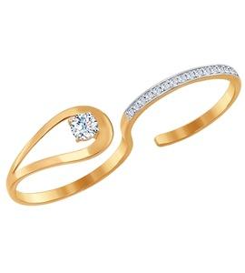 Разъёмное кольцо на два пальца из золота 017037