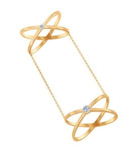 Кольцо на две фаланги из золота с фианитами 017058