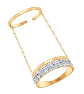 Кольцо на две фаланги из золота с фианитами 017059