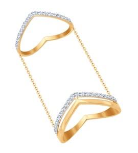 Кольцо на две фаланги из золота с фианитами 017060