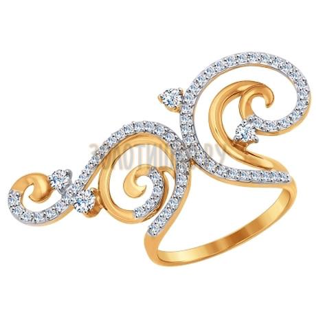 Кольцо из золота с фианитами 017103