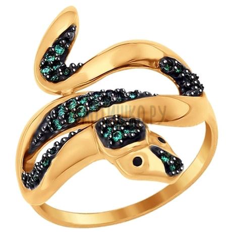 Кольцо «Змейка» из золота с фианитами 017117