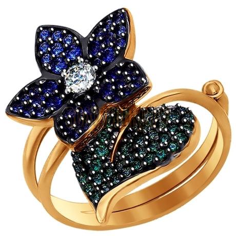 Кольцо-трансформер из золота с фианитами и синими и зелеными фианитами 017121